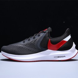 Nike Air Zoom Winflo 6 Hombre Zapatillas Running Mesh Black Red White