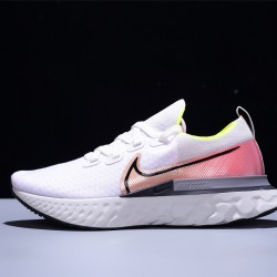 Nike Epic React Flyknit Hombre Zapatillas Running White Pink