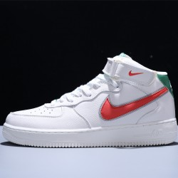 Stranger Things x Air Force 1 Mid 07 HH Hawkins High Hombre Mujer Zapatillas White Red Green Zapatos CJ6106-100