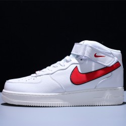 Stranger Things x Air Force 1 Mid 07 HH Hawkins High Hombre Mujer Zapatillas White Red Zapatos CJ6106-100
