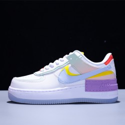 2020 Nike Air Force 1 Shadow Mujer Zapatillas White Purple Blue Zapatos CW2630-141